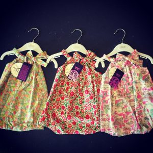Liberty fabric rompers from Bebe