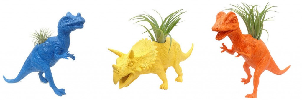 dino planter collage