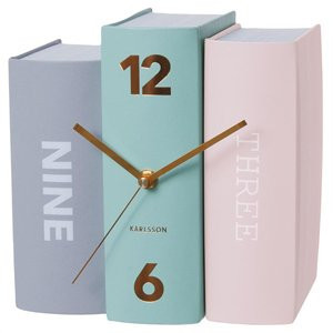 stack of books clock