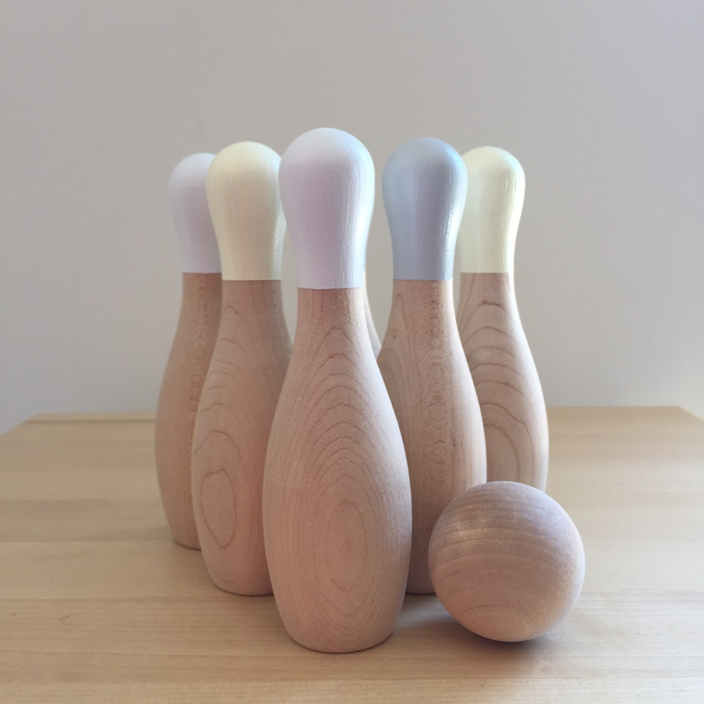 Home of Hazel wooden bowling pin set