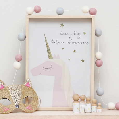 dream big and believe in unicorns print - 15 gift ideas for kids crazy about unicorns - Gift Grapevine