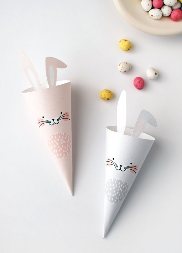 easter bunny treat cones - Fantastic free Easter printables and craft ideas - Gift Grapevine