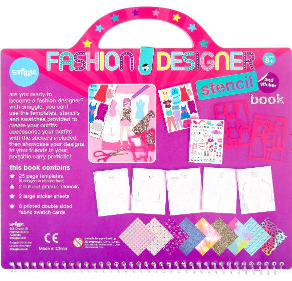 Smiggle fashion designer stencil book back - Gift Grapevine May baby and kids gift ideas