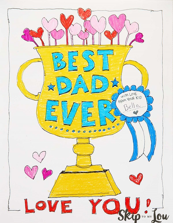 Free Father's Day printables - Best Dad Ever colour in