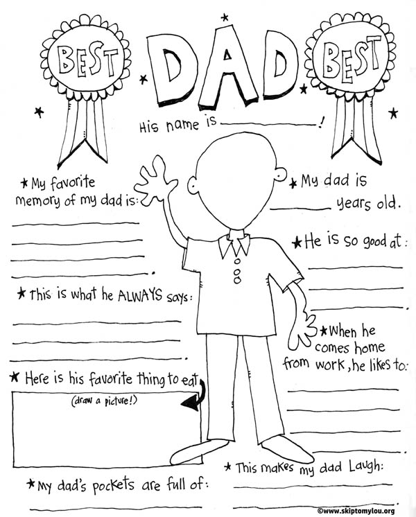 Free Father's Day printables - colouring page