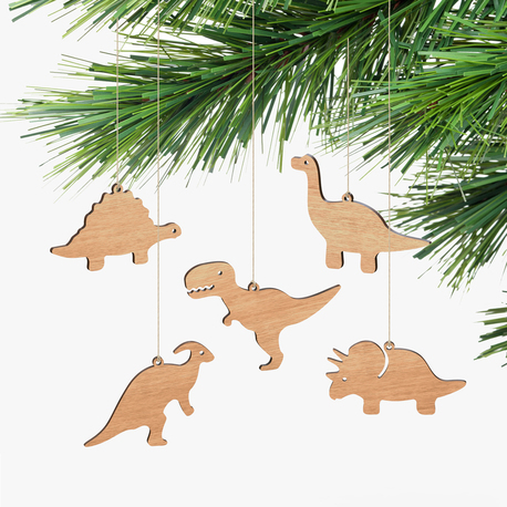 christmas themed gifts wooden dinosaur christmas decorations