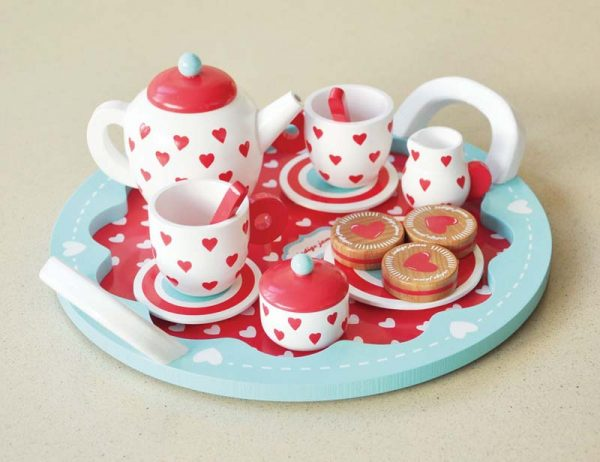 best kid's tea sets - Indigo Jamm wooden hearts tea set