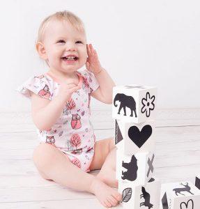 Aster & Oak organic baby clothes - Woodland animals flutter sleeve onesie