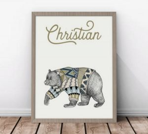 gift ideas for kids - Scandi inspired personalised bear print - boy