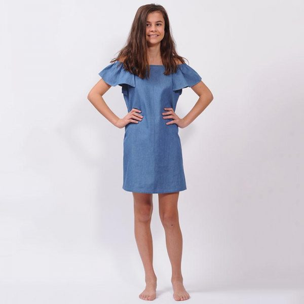 Cool Australian tween fashion labels - milla and lotti chambray shoulder dress