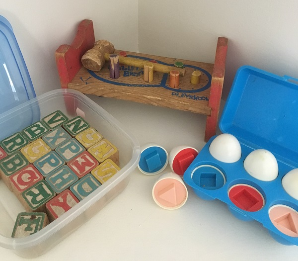 Toys my mum kept - blocks & eggs & Cobblers Bench