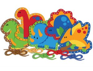 Three year old gift ideas - dinosaur lacing cards