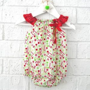 candy cane baby romper