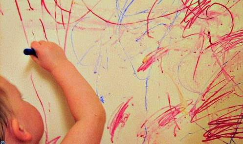 toddler drawing on walls
