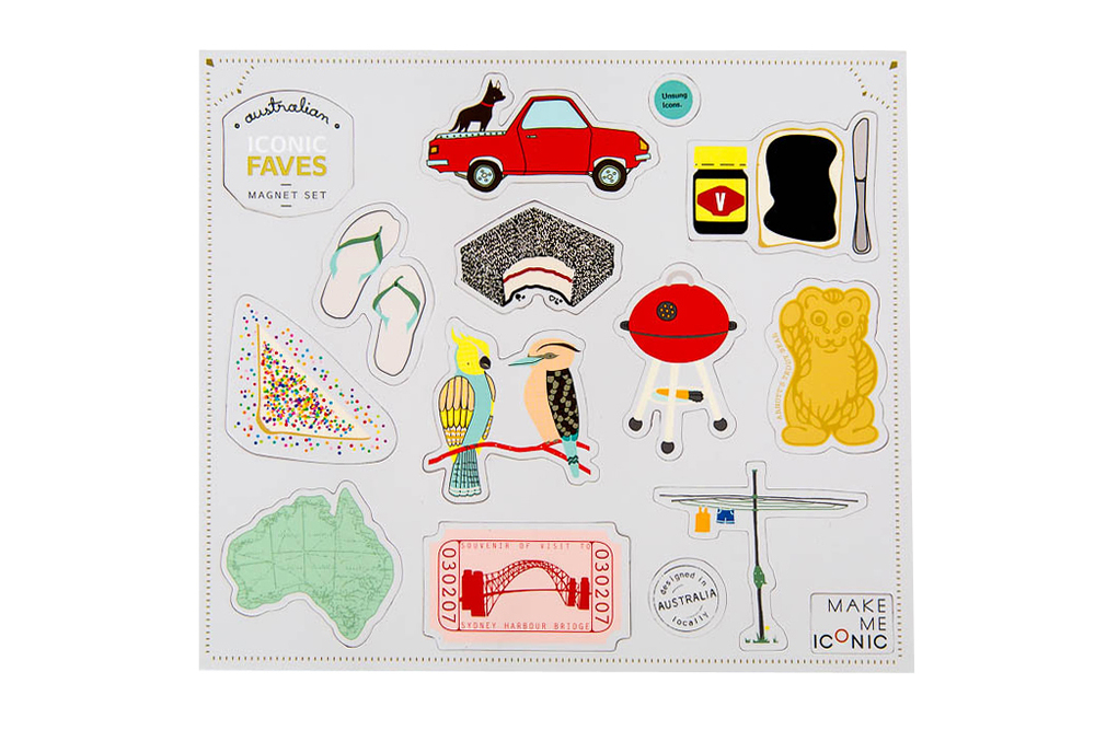 Australiana gifts - Make Me Iconic faves magnets