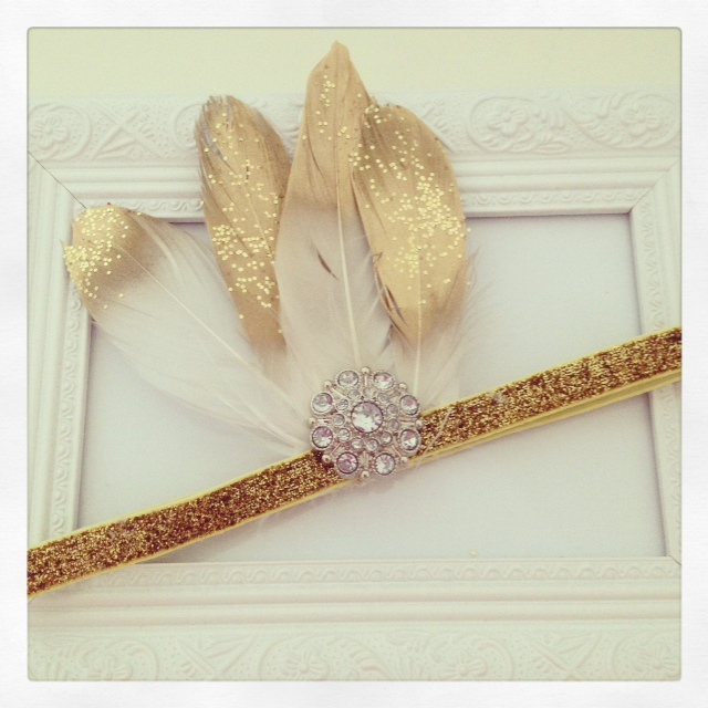 glitter feather head band