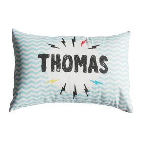 lightening bolt personalised cushion