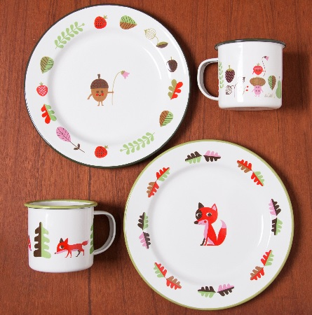 Fox enamel kids dinnerware set