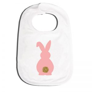 Easter bunny bling tail bib - pink - Easter gift guide for babies and kids - Gift Grapevine