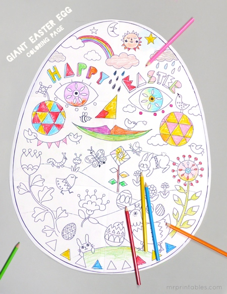 Giant easter egg colouring page - Fantastic free Easter printables and craft ideas - GIft Grapevine