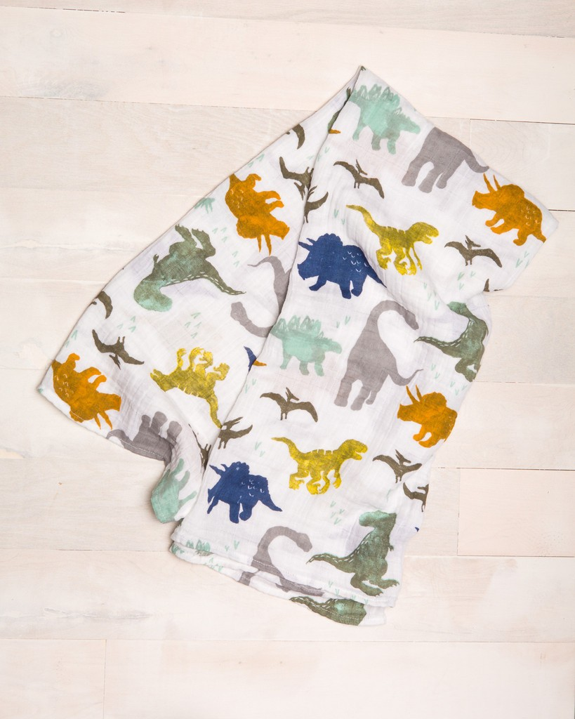 dino friends muslin swaddle - Gift Grapevine baby and kids gift idea picks - April 2016