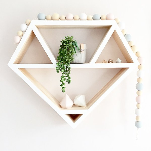 Diamond shadow box - great shelving ideas for kids rooms - Gift Grapevine