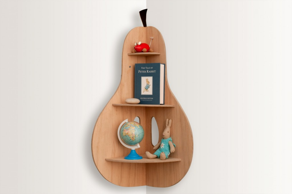 Pear shaped corner shelf - great shelving ideas for kids rooms - Gift Grapevine