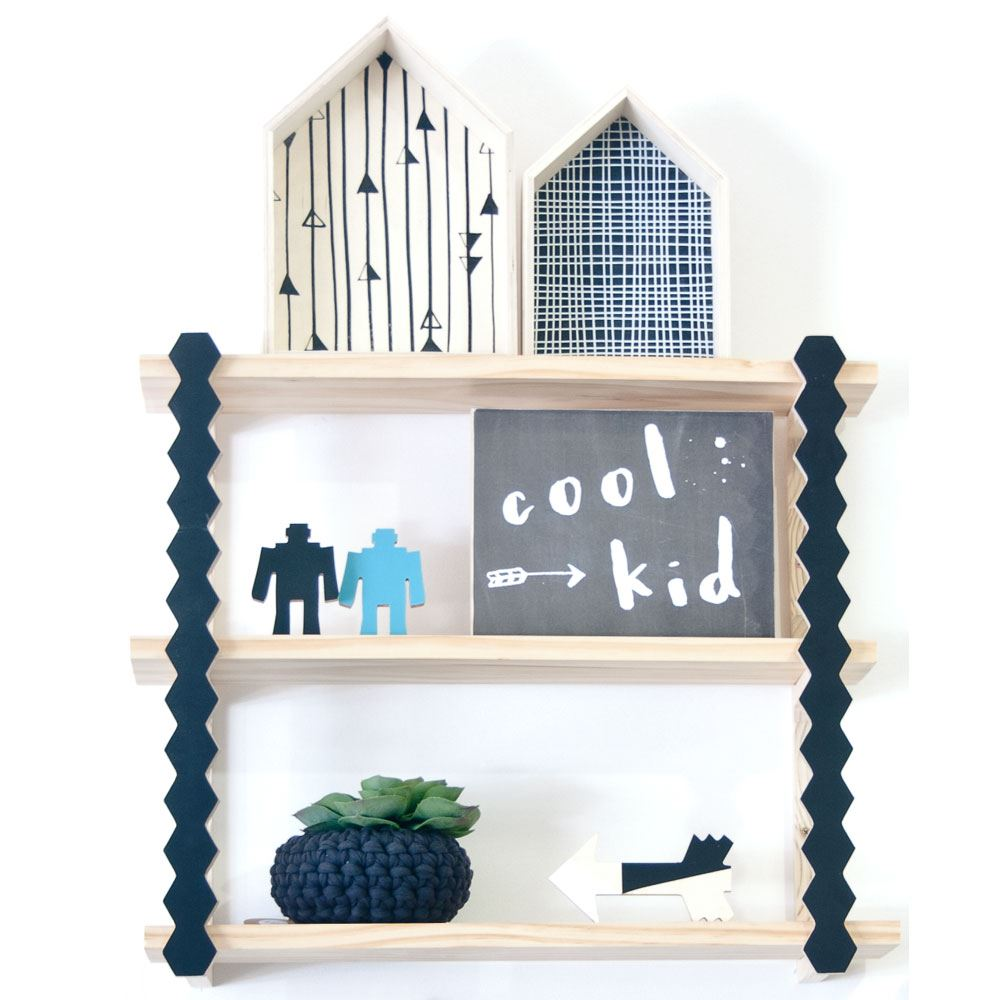 Three Tier Geo Shelf - great shelving ideas for kids rooms - Gift Grapevine