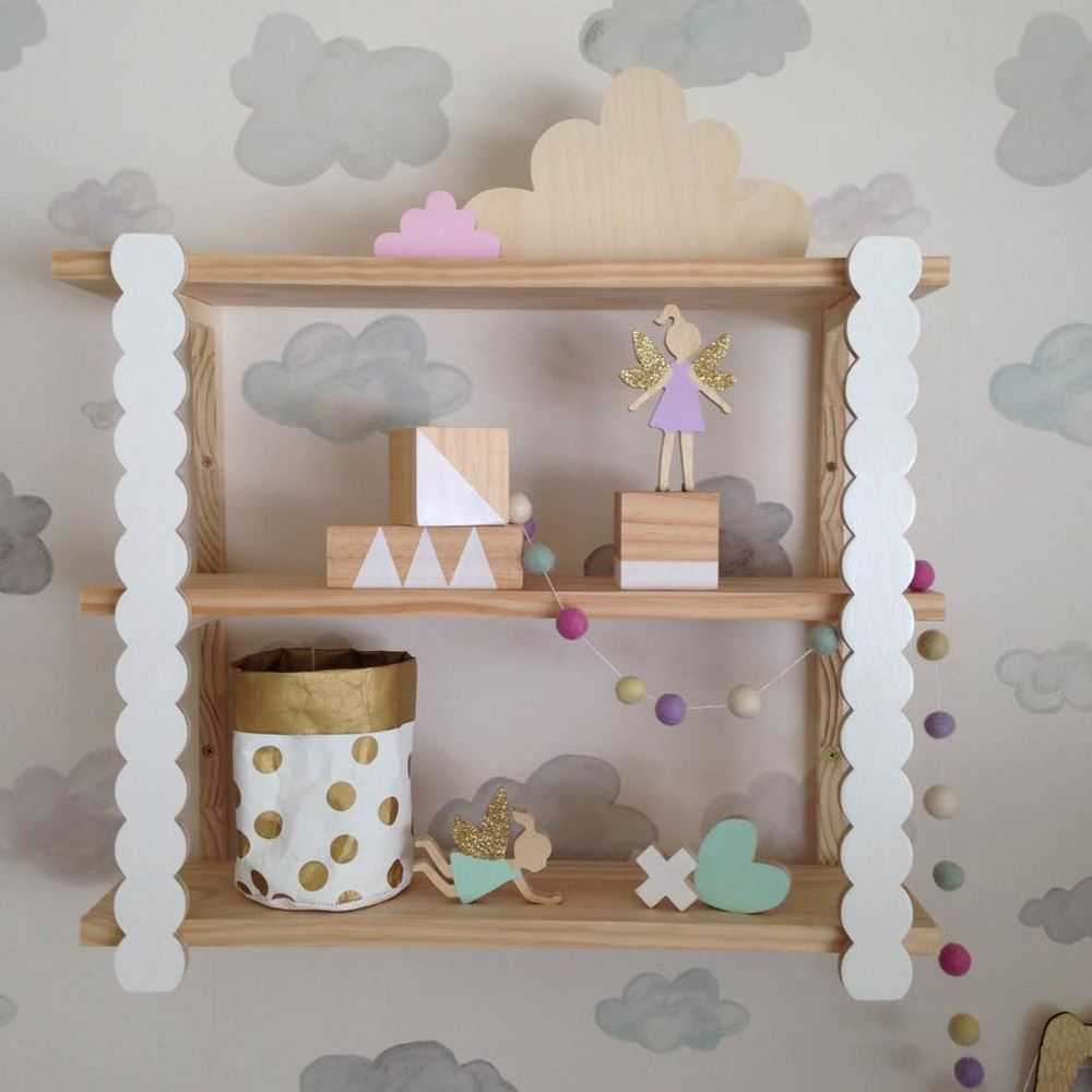Three Tier Scalloped Shelf - great shelving ideas for kids rooms - Gift Grapevine