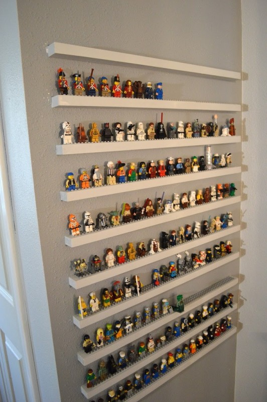 diy leg minifigure storage shelves - great shelving ideas for kids rooms - Gift Grapevine