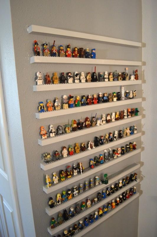 diy leg minifigure storage shelves - LEGO gift ideas - Gift Grapevine