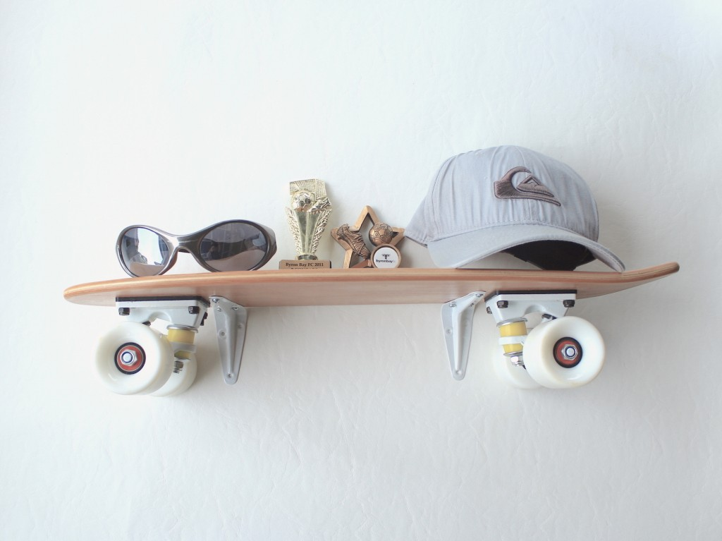skateboard shelf - great shelving ideas for kids rooms - Gift Grapevine