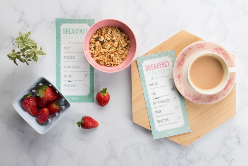 Tiny Me mothers day breakfast menu - free mothers day printables - Gift Grapevine