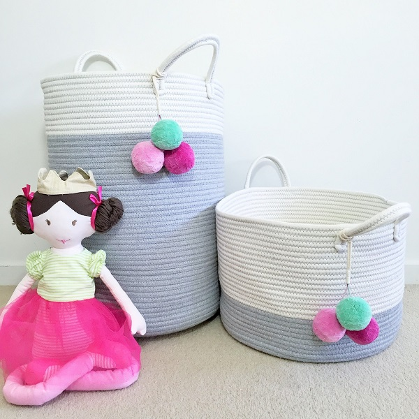 Munchkin and Bear pom pom storage basket pink - Gift Grapevine baby and kids gift ideas July