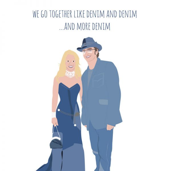 funny Valentine's Day cards - britney and justin denim