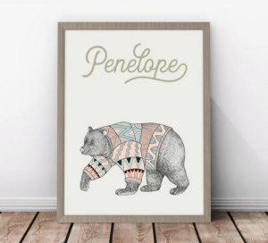 gift ideas for kids - Scandi inspired personalised bear print girl