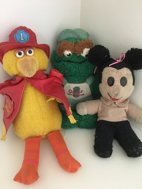 Toys my mum kept - Sesame Street plush and Mim