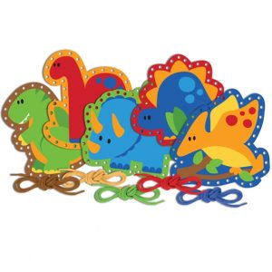 great new kids gift ideas - dinosaur lacing cards