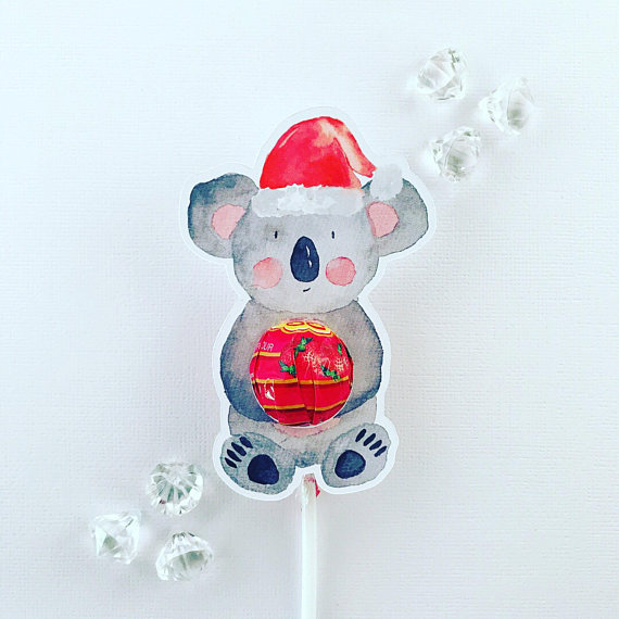 christmas themed gifts - koala christmas lollipop holders