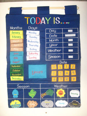Three year old gift ideas - Today is Fabric Wall Calendar