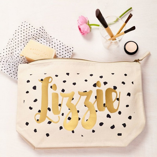 Tween gift ideas - personalised black and gold dot pouch