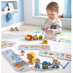 Two year old gift ideas - threading building site blocks