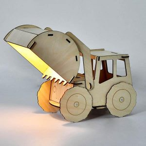 Two year old gift ideas - wooden excavator table light